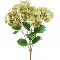 Hortensien Strauß künstlich Grün, Braun 5 Blüten 48cm