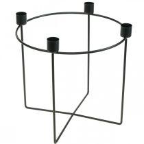 Kerzenhalter für 4 Stabkerzen Schwarz Metall Ø25cm H23cm