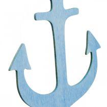 Anker Aufhänger Holz Blau, Weiß Sommerdeko zum Hängen 8St