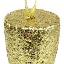 Aufhänger Champagnerglas Hellgold-Glitter 15cm Silvester und Weihnachten