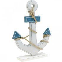 Deko-Anker Holz zum Stellen Tischdeko maritim Blau, Weiß H24cm