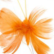 Schmetterlinge in Orangetönen, Frühlingsdeko Feder-Schmetterlinge am Draht 6St