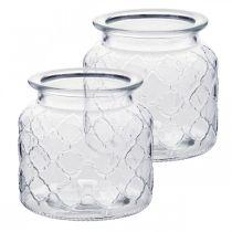 Deko-Windlicht Rautenmuster, Glas-Gefäß, Vase aus Glas, Kerzendeko 2St