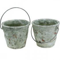 Deko Eimer, Keramik zum Bepflanzen, Gartendeko, Pflanzeimer Antik Optik Ø13,5cm H12cm 2St