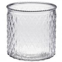 Deko-Glas, Windlicht mit Rautenmuster, Glasgefäß Ø15cm H15cm