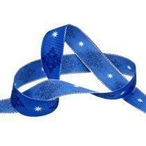 Dekoband Blau mit Muster 25mm 20m