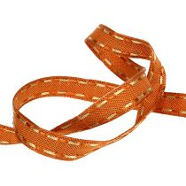 Dekoband Orange mit Drahtkante 15mm 15m