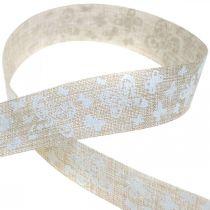 Dekoband mit Schmetterlingen Braun 25mm Stoffband Geschenkband 20m