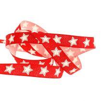 Dekorationsband mit Sternenmuster rot 15mm 20m