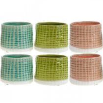 Keramik-Übertopf, Mini-Pflanztopf, Keramikdeko, Deko-Topf Korbmuster Mint/Grün/Rosa Ø7,5cm 6St