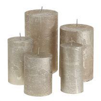 Durchgefärbte Kerzen Platin unterschiedliche Größen
