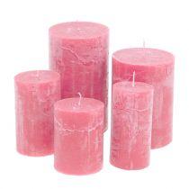 Durchgefärbte Kerzen Rosa unterschiedliche Größen