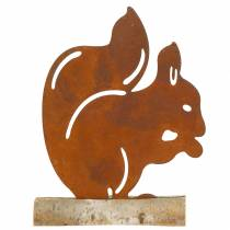 Eichhörnchen Edelrost am Holzfuß 19cm x 25cm