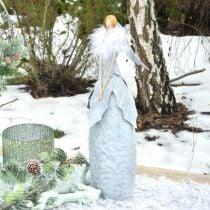 Deko Engel Figur mit Federboa Grau Metalldeko Weihnachten 38cm