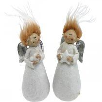 Deko Engel Figur Weihnachtsengel Weiß 4,5×3,5×11cm 4St