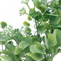 Hochzeitsdeko Künstliche Eukalyptus-Zweige mit Blüten Dekostrauß Grün, Weiß 26cm