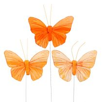 Feder-Schmetterling 8cm Orange 24St