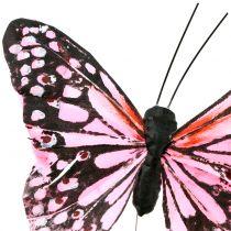 Schmetterling am Draht Rosa 11cm 12St