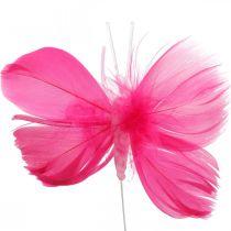 Federschmetterlinge Rosa/Pink/Rot, Deko-Schmetterlinge am Draht 6St