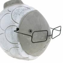 Deko-Fisch mit Brille Blau Weiß 15,5/14,5cm 2St