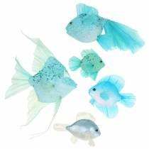 Deko-Fische zum Hängen Blau Türkis Grün Grau 10-22cm 5St