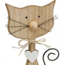 Frühlingsfigur, Katzen-Deko, Holzfigur, Tisch-Dekoration, Landhaus-Deko 2St