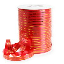 Geschenkband 2 Goldstreifen auf rot 10 mm 250m