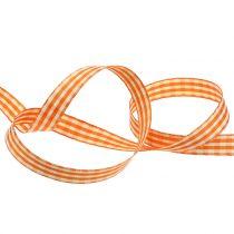 Geschenkband Karo Orange 15mm 20m