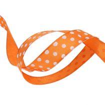 Geschenkband mit Punkten Orange 15mm 20m