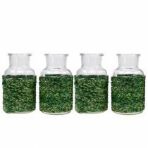 Glasflasche mit Bast Grün H10cm 4St