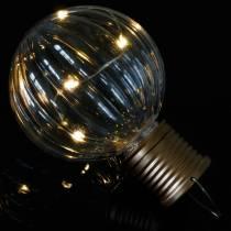 Solar-LED-Lampe Retro-Look Transparent Warmweiß Ø8cm