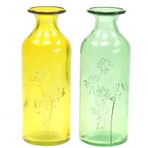 Glasvase Flasche Gelb, Grün H19cm 2St