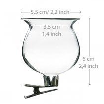 Glasvase Glocke mit Clip Klar Ø5,5cm H6cm 4St
