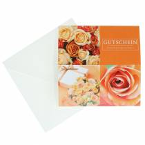 Gutscheinkarte Rose Orange + Umschlag 1St