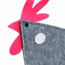 Deko Hahn aus Filz mit Punkten Grau, Weiß, Pink 57cm x 7cm H58,5cm Schaufensterdeko