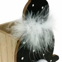 Hase Pflanzkasten Federboa Schwarz, Weiß gepunktet Holz Osterhase