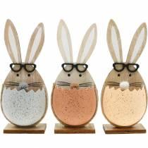 Holz-Hase im Ei, Frühlingsdeko, Hasen mit Brille, Osterhasen 3St