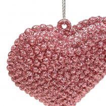 Herz Rosa zum Hängen mit Glimmer 6,5cm x 6,5cm 12St