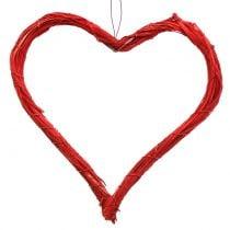 Herz aus Bast zum Hängen Rot 20cm 6St