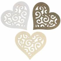 Tischdeko Herz Holz Weiß, Creme, Braun 4cm 72St