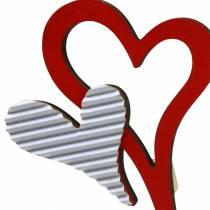 Herzstecker aus Holz Rot, Weiß 38cm 12St