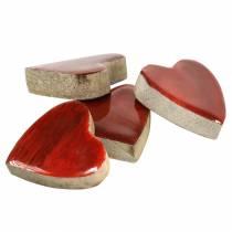Herzen aus Mangoholz Glasiert Natur, Rot 4,3cm × 4,6cm 16St