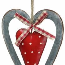 Deko Herz zum Hängen Metall Rot, Silbern Ø8,8 H15cm 3St