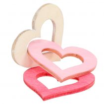 Herzen zum Streuen Rosa, Pink, Natur 4cm 72St
