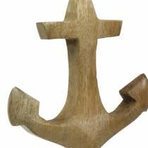 Deko Anker Holz Anhänger Natur H14,6cm