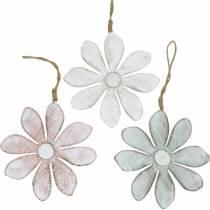 Holz-Blumen zum Hängen, Sommer, Blumen in Pastellfarben, Frühlingsdeko Ø16cm 3St