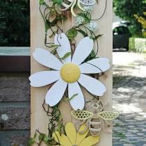 Holzblüten, Sommerdeko, Margeriten Gelb und Weiß, Deko-Blumen zum Hängen 4St
