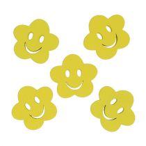 Holzblume mit Gesicht Gelb 2,5cm 48St
