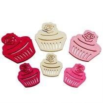 Holzcupcakes Tischdeko Pastellfarben Muffins Geburtstagsdeko 24St