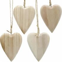 Herzen aus Holz zum Hängen natur 10cm 4St
